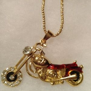 Jewelry - Betsey Johnson Gold Plated Enamel Motorcycle